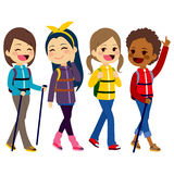 Hiking Girls Friends. Happy hiking girls friends from diverse ethnicities enjoying climbing mountain vector illustration