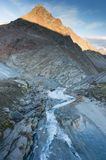 Hiking on glacier in Alps stock photo