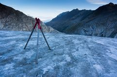 Hiking on glacier in Alps royalty free stock photo