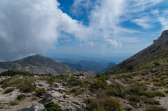 Hiking on the GR 221 in Tramuntana, Mallorca, Spain. Hiking on the Gr221 in the Tramuntana on Mallorca, break in the Mountains, Spain Stock Photography