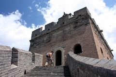 Hiking the great wall in china Royalty Free Stock Photo