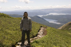 Hiking Grone Morne Mountain. Hiking Gros Morne mountain in Gros Morne National Park, Newfoundland Stock Photo