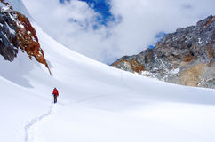 Hiking group on a trail.  Nepal, Himalayas Stock Photos