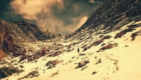 Hiking group on a trail.  Sagarmatha National Park Royalty Free Stock Image