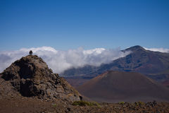 Hiking the Haleakala Crater. A scenic view of the breathtaking crater of the Haleakala Volcano - Haleakala National Park Maui, Hawaii stock images