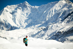 Hiking happy woman in Himalaya Mountain Stock Photography
