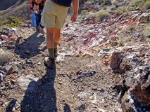 Hiking on a hard, rocky trail in the desert Royalty Free Stock Image