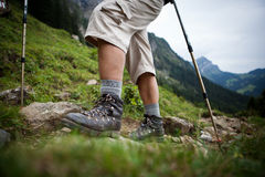 Hiking in high mountains Royalty Free Stock Images
