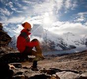 Hiking in Himalaya mountains Royalty Free Stock Images