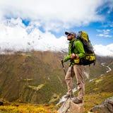 Hiking in Himalaya mountains Stock Photos