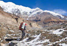 Hiking in Himalaya mountains Stock Images