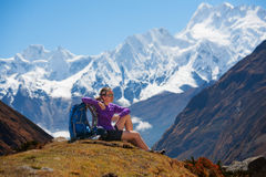 Hiking in Himalaya mountains Stock Photos