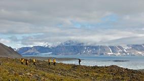 Hiking in Hornsund, Svalbard Royalty Free Stock Images