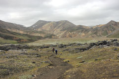 Hiking in Iceland. The  beginning of  Landmannalaugar trek in Iceland in the summer Stock Images