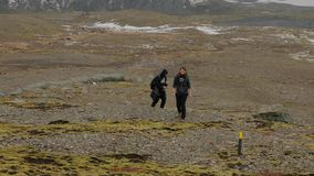 Hiking in Iceland stock footage