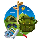 Hiking icon concept Royalty Free Stock Photo