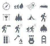 Hiking icon illustration isolated vector. Set of hiking icons illustration isolated vector sign symbol Royalty Free Stock Image