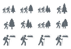 Hiking icon illustration  vector. Set of hiking tourists icon illustration  vector sign symbol Royalty Free Stock Images