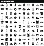 100 hiking icon set, simple style. 100 hiking icon set. Simple set of 100 hiking icons for web design isolated on white background Stock Illustration