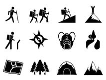 Hiking icons. Isolated hiking icons from white background Stock Image