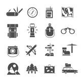 Hiking icons set black Royalty Free Stock Photos