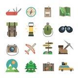 Hiking icons set flat Royalty Free Stock Photos