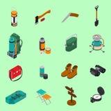 Hiking Icons Set. With hiking equipment symbols on green  background isometric isolated vector illustration Stock Photography