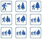 Hiking icons set Royalty Free Stock Photography