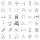 Hiking icons set, outline style Royalty Free Stock Photo