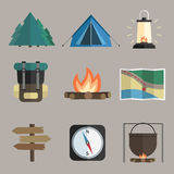Hiking icons. Vector set of hiking icons. Flat design style. Eps 10 Stock Image