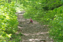 Hiking. Image of a little girl sitting on a hiking trail and taking a rest Stock Image