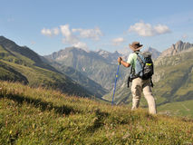 Hiking In Alps Stock Photography
