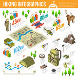 Hiking Infographics Set Stock Images