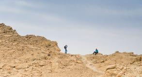 Hiking in israeli stone desert. Israel travel trek in desert backpackers tourism Stock Photos