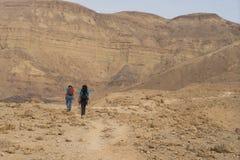 Hiking in israeli stone desert. Israel travel trek in desert backpackers tourism Stock Image