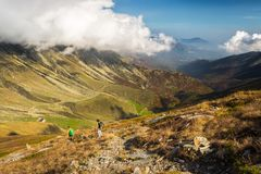 Hiking in the italian Alps royalty free stock photography