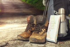 Hiking items,at the outdoor environment. Stock Images