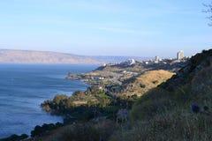 Hiking Jesus trail - beautiful view of Mt. Arbel in countryside of Galilee, Sea of Galilee, Israel stock photo