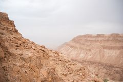 Hiking in a Judean desert of Israel Royalty Free Stock Photo