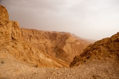 Hiking in Judean stone desert, middle east Stock Photos