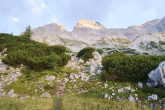 Hiking in Julian alps. Hiking from Krma valley to Planika hut under mt Triglav Royalty Free Stock Photography