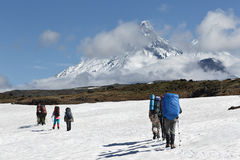 Hiking on Kamchatka Peninsula (Russia, Far East) Royalty Free Stock Photography