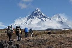 Hiking on Kamchatka: travelers go to mountains. Hiking on the Kamchatka Peninsula: travelers go to the mountains in the background volcanoes: Kamen Volcano Stock Images