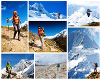 Hiking in Khumbu walley Stock Image