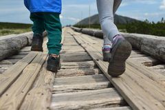 Hiking kids. Girl and boy, siblings in boots walking on a wooden path lined by poles. Detailed focus on boots and legs Royalty Free Stock Photos
