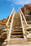 Hiking ladder across rock Stock Image