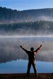 Hiking at lake Stock Image