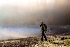 Hiking at lake Stock Photography
