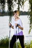 Hiking at lake Stock Photo