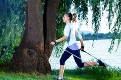 Hiking at lake Stock Images
